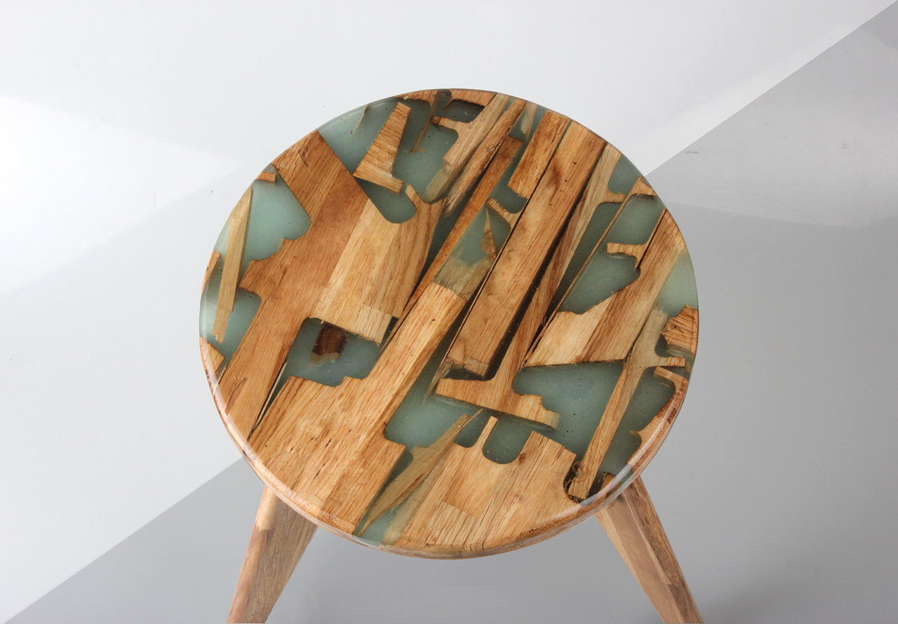 New Furniture Design offcuts + resin combined to form new furniture - design milk