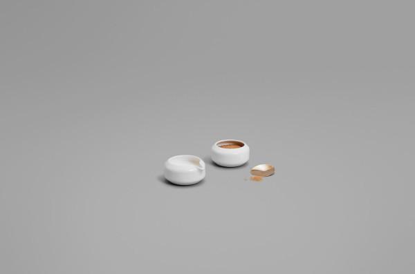 Kyou Sugar Bowl, Circular Spoon & Creamer by Todd Bracher