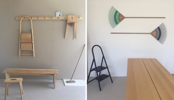 Left: Stove Chair & Domino Coat Rack, Brethren Bench, and Handle Stool by Gabriel Tan Design; Handy Sweeper by Chris Specce \\\ Right: Handy Rakes by Chris Specce; Handy Folding Ladder; Trestle table by Studio Gorm