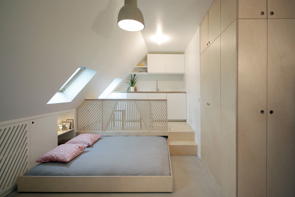 An Old Attic Apartment Goes Modern