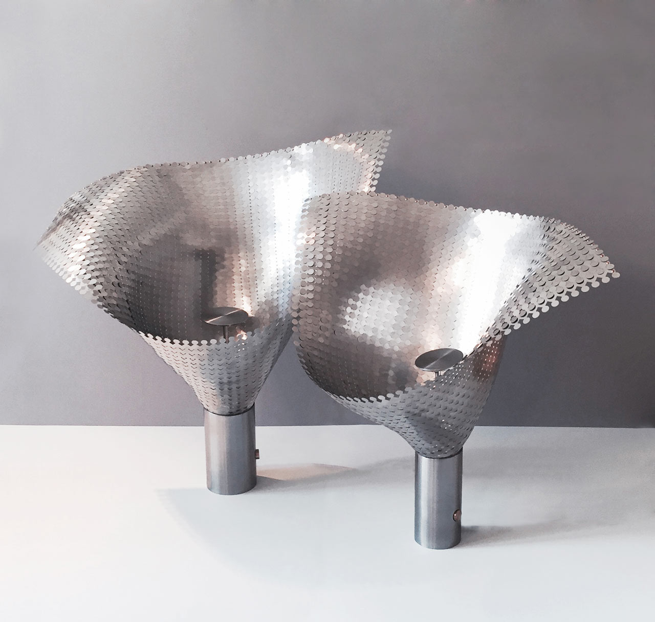 Lights Made From Woven Metal Fabric