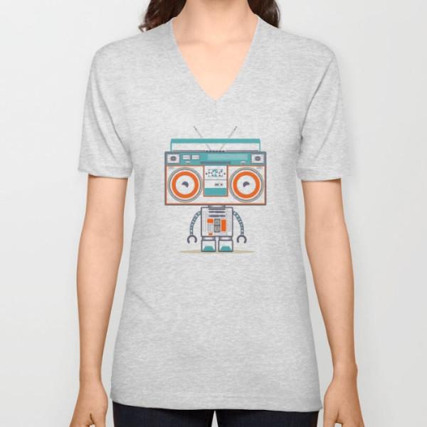 music-robot-vneck-tshirt
