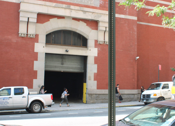 "The back door of Martin Creed's ""The Back Door"" at Park Avenue Armory. Photo by author."