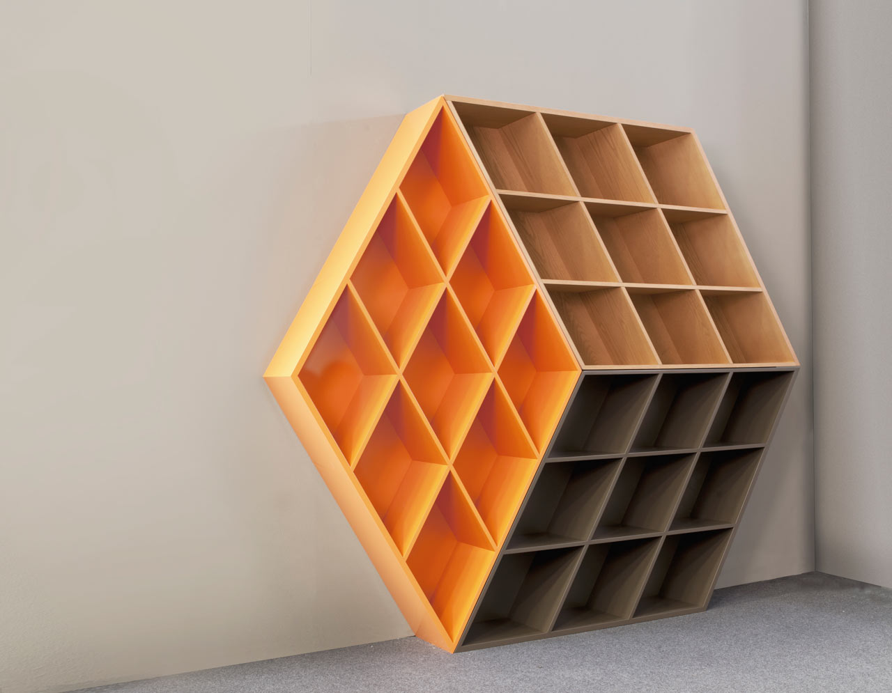 A wooden bookcase inspired by the rubik 39 s cube design milk for Decorator pattern