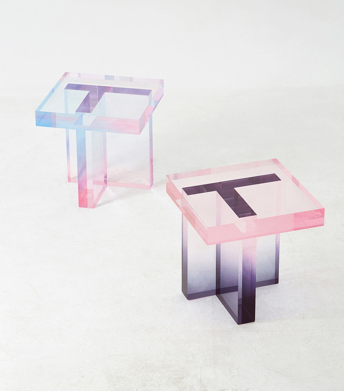 Tables Made With Dyed Acrylic Resin