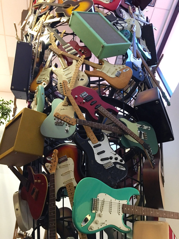 Guitar and amp sculpture in Fender's lobby