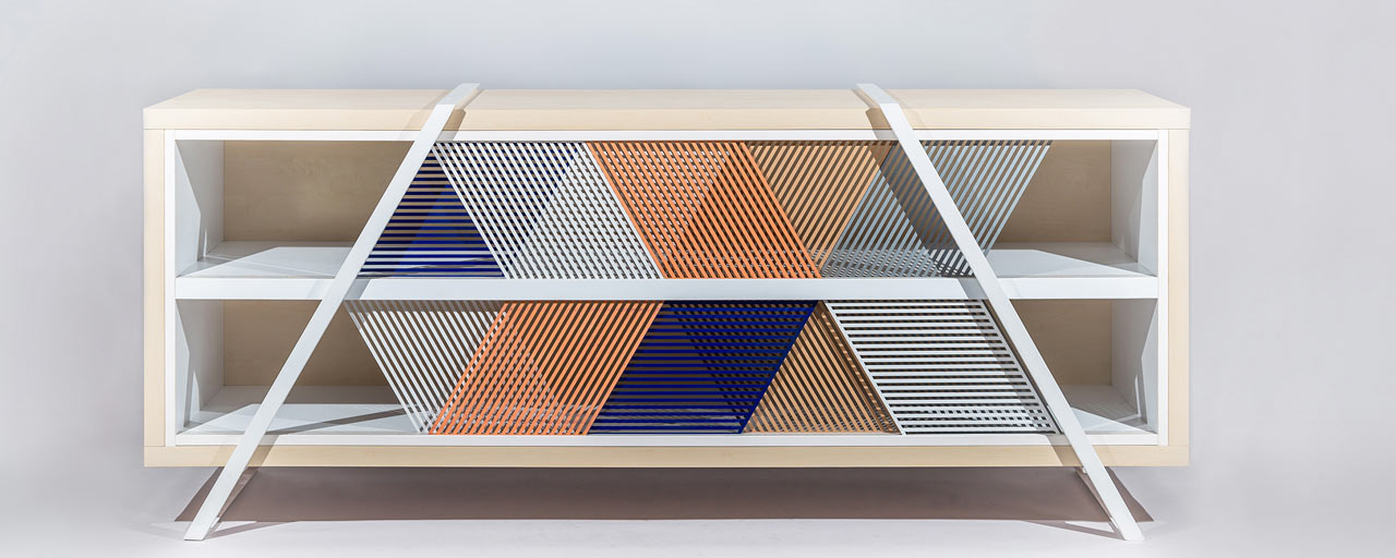 A Sideboard with a Mashup of Geometric Shapes