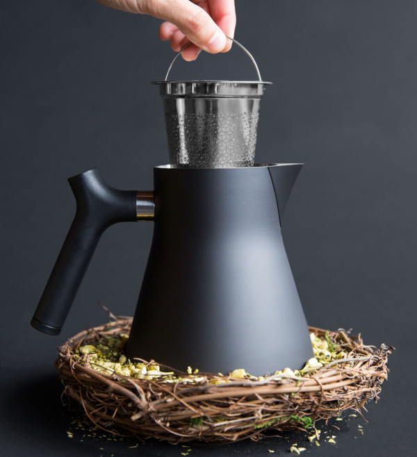 raven a stovetop kettle and tea steeper design milk