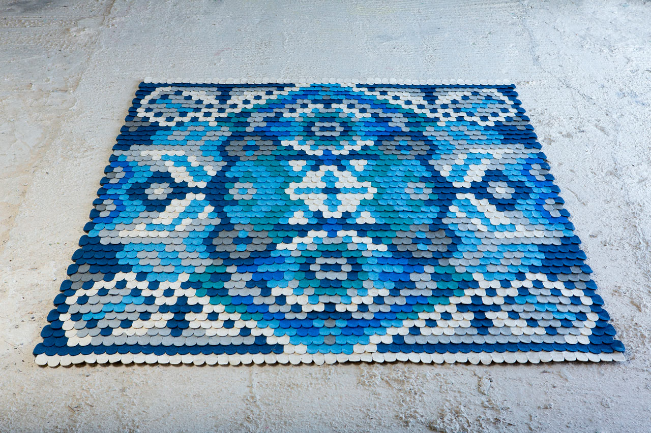 A Rug Made of Felt Scales Inspired by Traditional Patterns