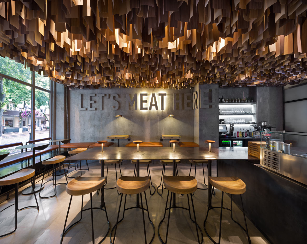 A modern burger joint in poltava ukraine design milk for Restaurant moderne