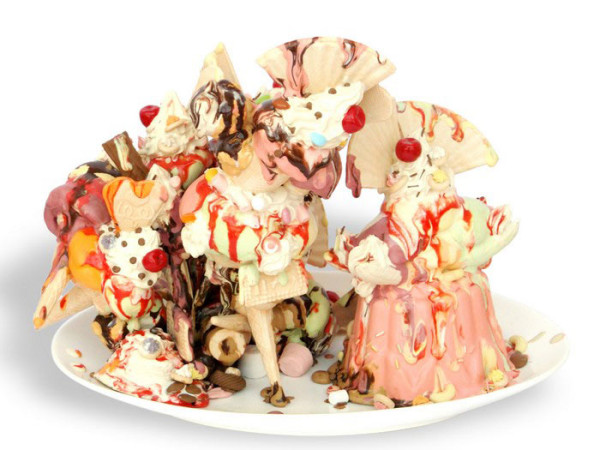 Ceramic ice cream sculpture by Anna Barlow