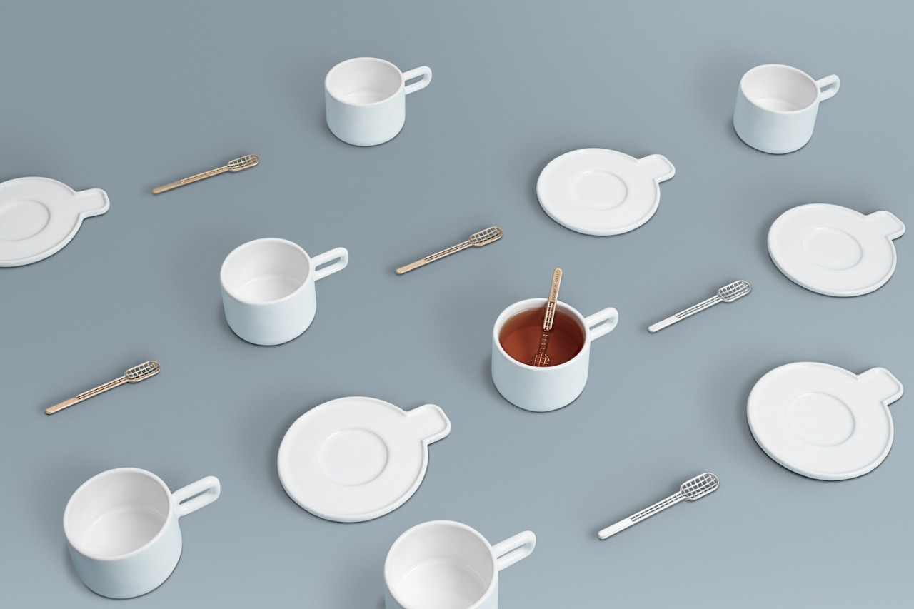 The Grid Cup, Saucer, and Spoon from byAMT