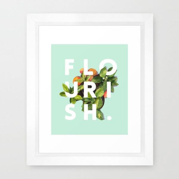 flourish-society6-typography-artprint-framed-print