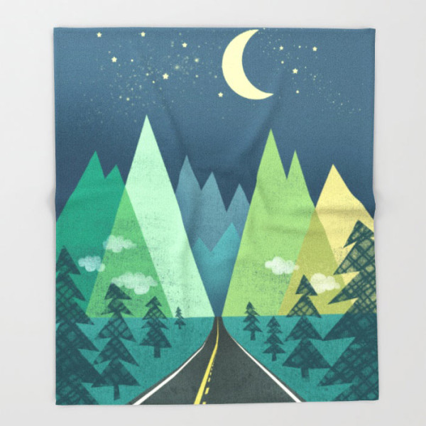 the-long-road-at-night-throw-blanket