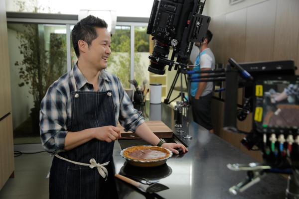 Danny on set of his new TV show, Naturally Danny Seo