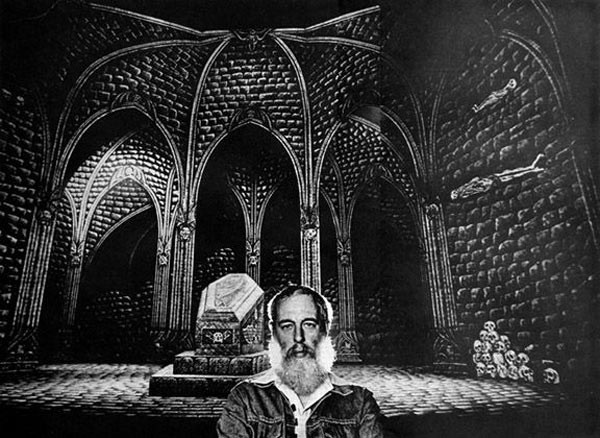 Edward Gorey and his set for Dracula. Photo courtesy of the Edward Gorey Charitable Trust.