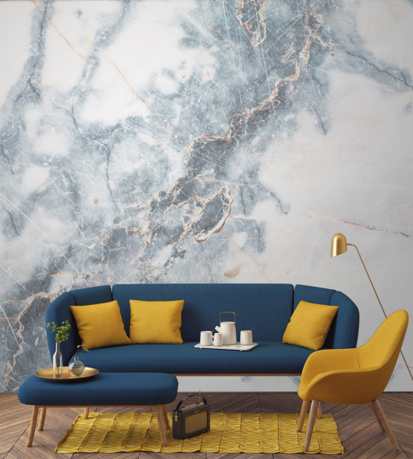 Murals-Wallpaper-Marble-3-Deep-Blue-Clouded-Print