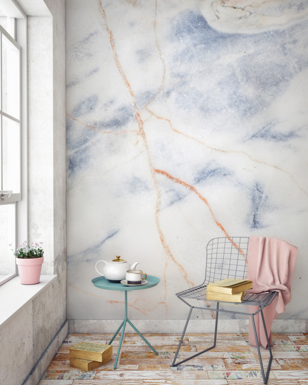 Murals Wallpaper Marble 9 Blue And Bronze Print