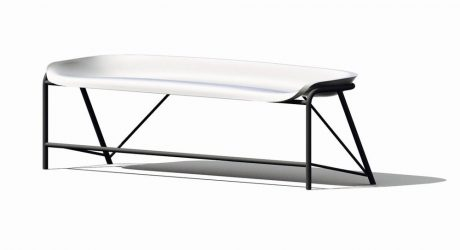 A Heated Outdoor Bench by Galanter & Jones