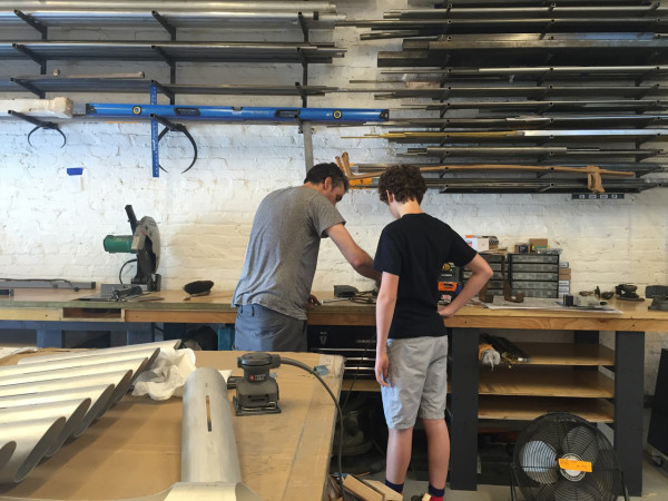 David and son in workshop