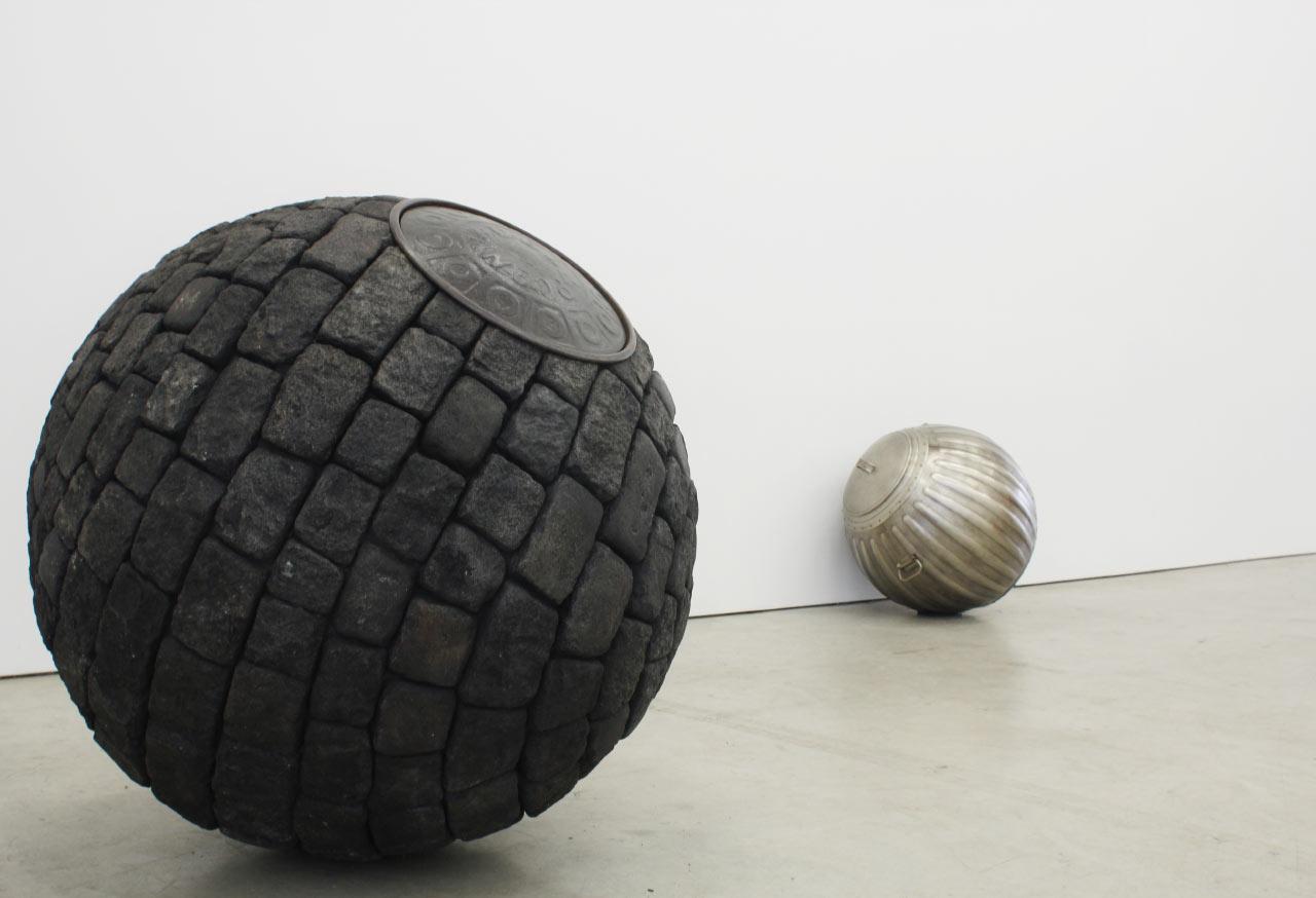 Street Ball (Cobble) 2016; Trash Can Ball, 2016