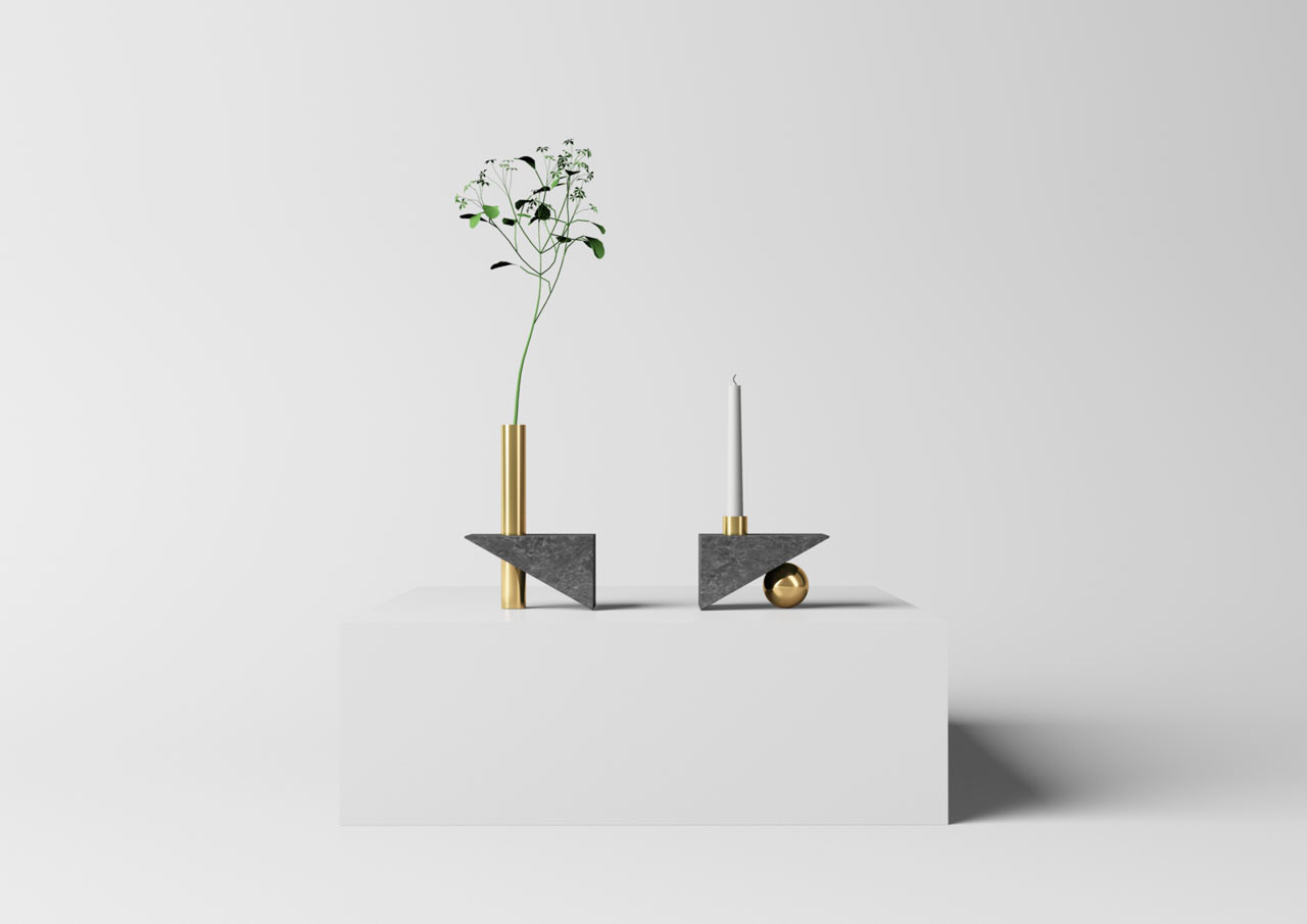 Geometry Vase & Candle by Mario Tsai