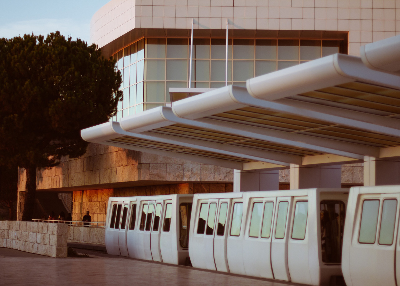 The beloved Getty Center trams bring guests up to and down from the hilltop museum.