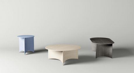 Tables With Bent Plywood Bases by Mario Tsai