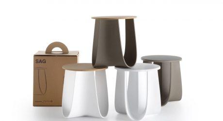 Sag: A Stool + Table with Folded Legs