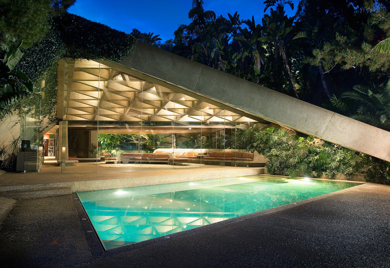 The John Lautner designed Sheats-Goldstein residence, popularly recognized as The Big Lebowski/Jackie Treehorn house.