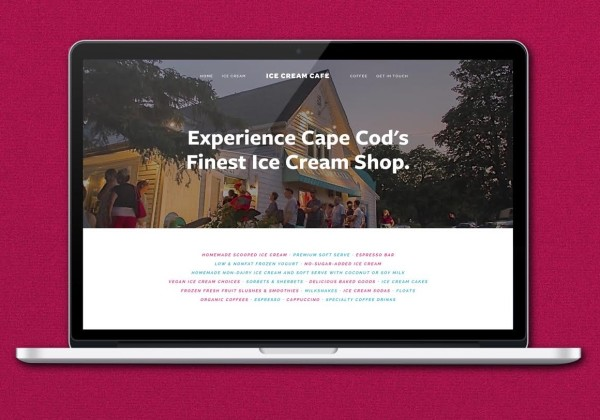 Website designed for Ice Cream Cafe by Lovably