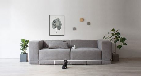 A Minimalist Sofa Held Together with a Frame