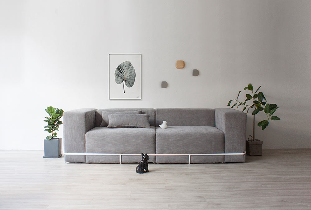 A Minimalist Sofa Held Together with a Frame Design Milk