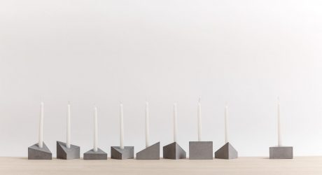 A Modern Menorah Made of Prism-Shaped Concrete Blocks