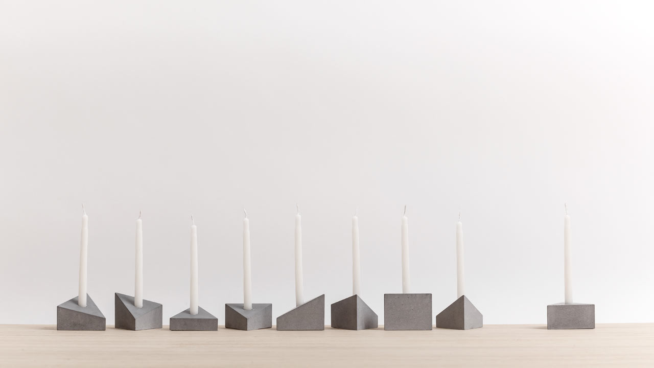 A Modern Menorah Made of Prism-Shaped Concrete Blocks