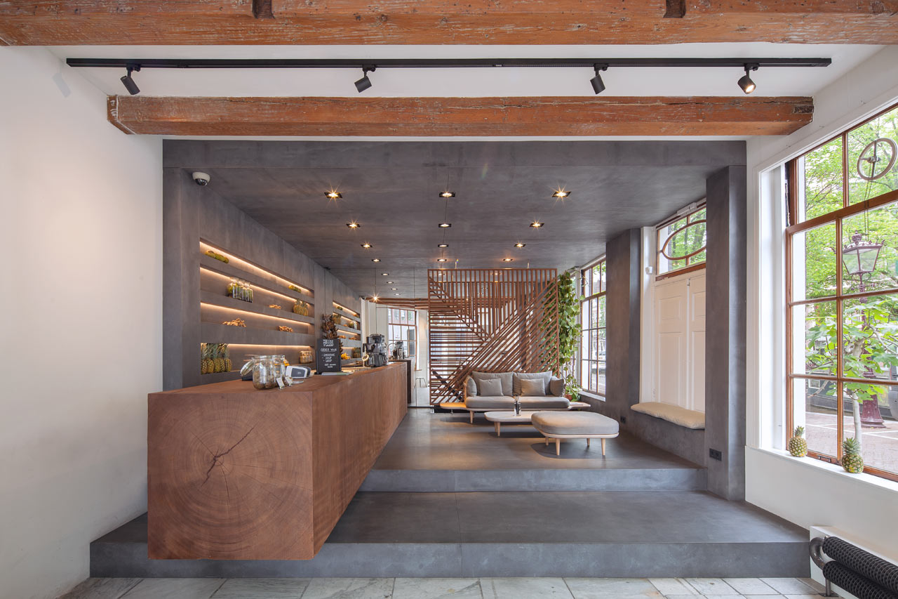 Interior design main · a minimalist juice shop in amsterdam