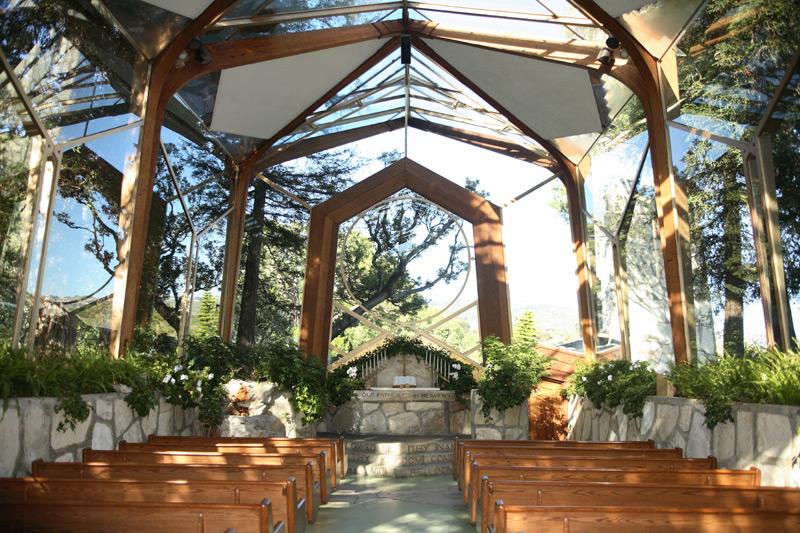 The interior of the Wayfarers Chapel in Palos Verdes.
