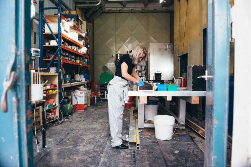 Sabine in her workshop. Photo by Tim Buiting