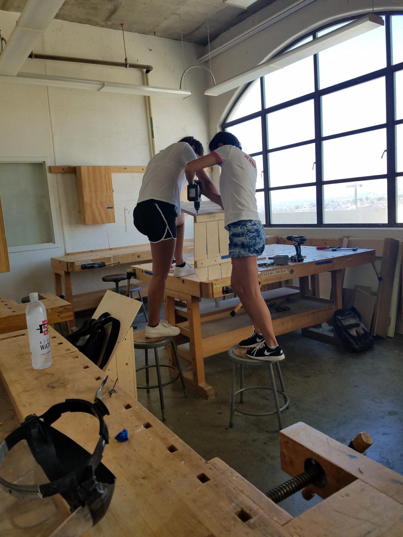Christine Nilsson and Amalia Soerlien working together in the studio. Photo by Aleya Lanteigne