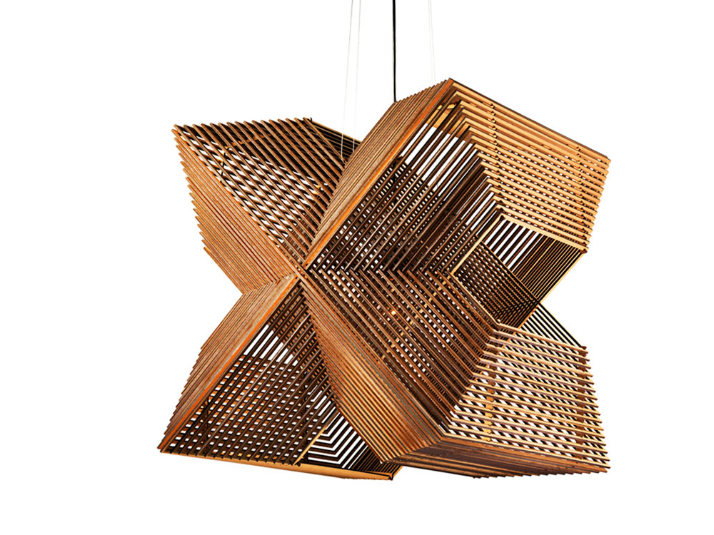 Angles: A Pendant Lamp Made Up of 64 Rectangles