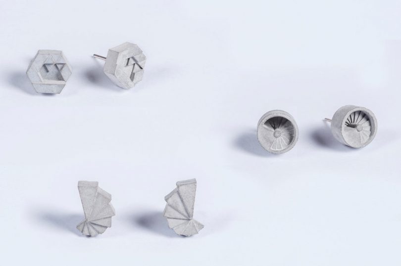 ELEMENTS II: Micro Concrete Earrings by Material Immaterial studio