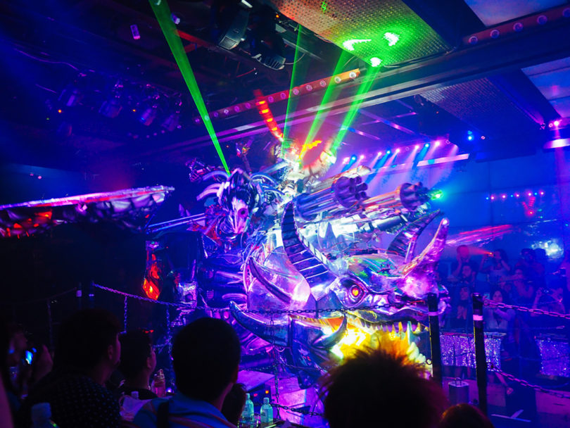 A dinosaur shooting out laser beams is just par for the course at the Robot Restaurant in Shinjuku. Photo by Nick Turner/CC BY 2.0