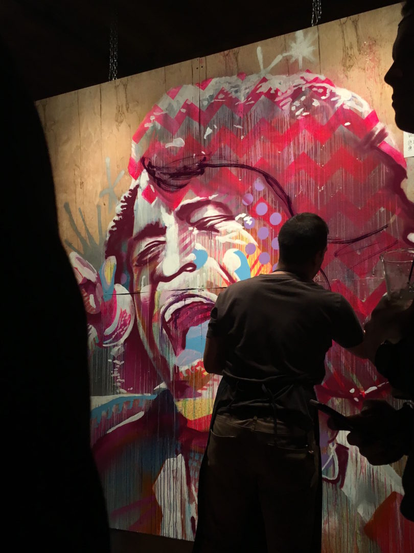 Red Bull – live painting Wes Kinship, portrait of James Brown