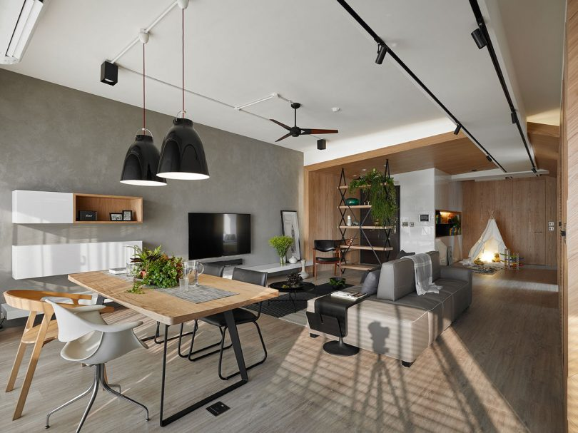 Awork Design Studio Designed An Apartment In Taiwan With An Open Floor Plan  With Lots Of Natural Light, Along With Places For ...