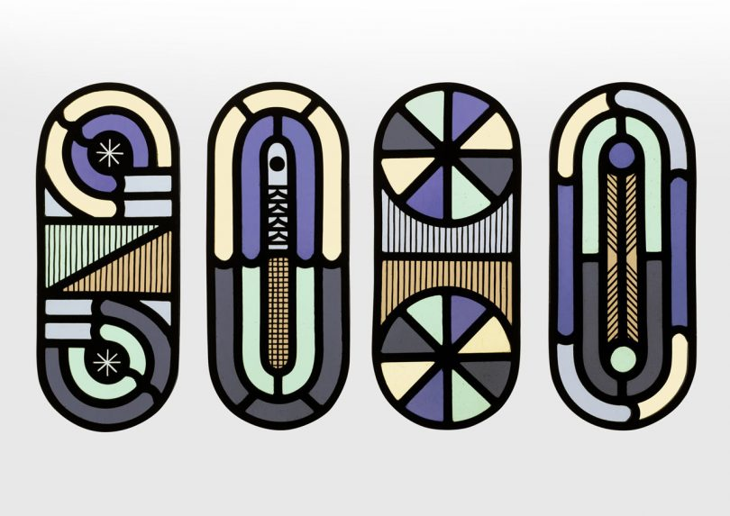 Ocean-Inspired Contemporary Stained Glass Panels