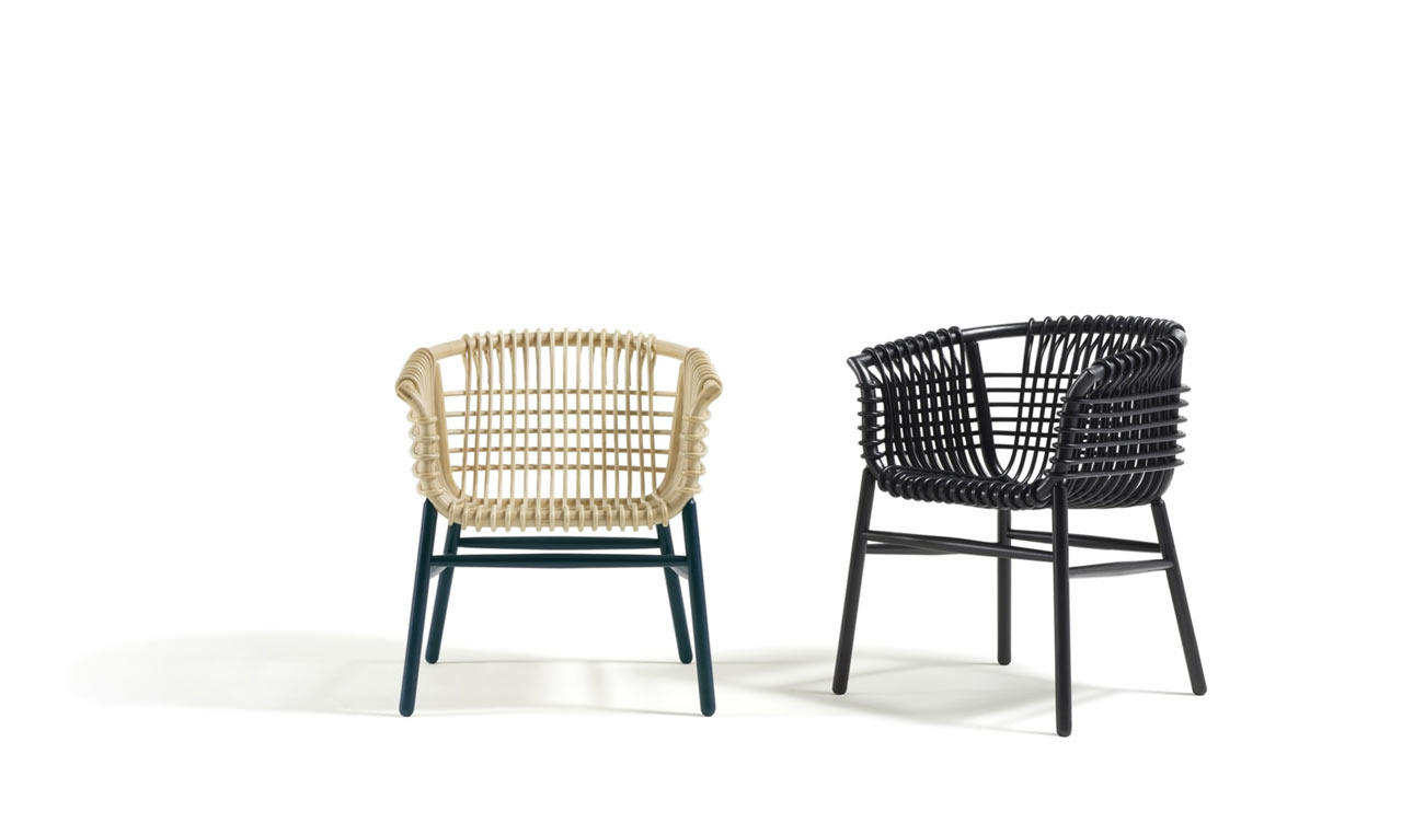 Lukis a modern rattan armchair made with traditional for Modern wicker dining chairs