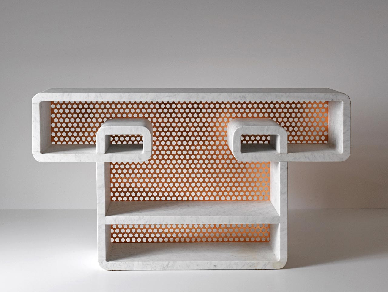 Marble and Metal Shelves Inspired by Doodling