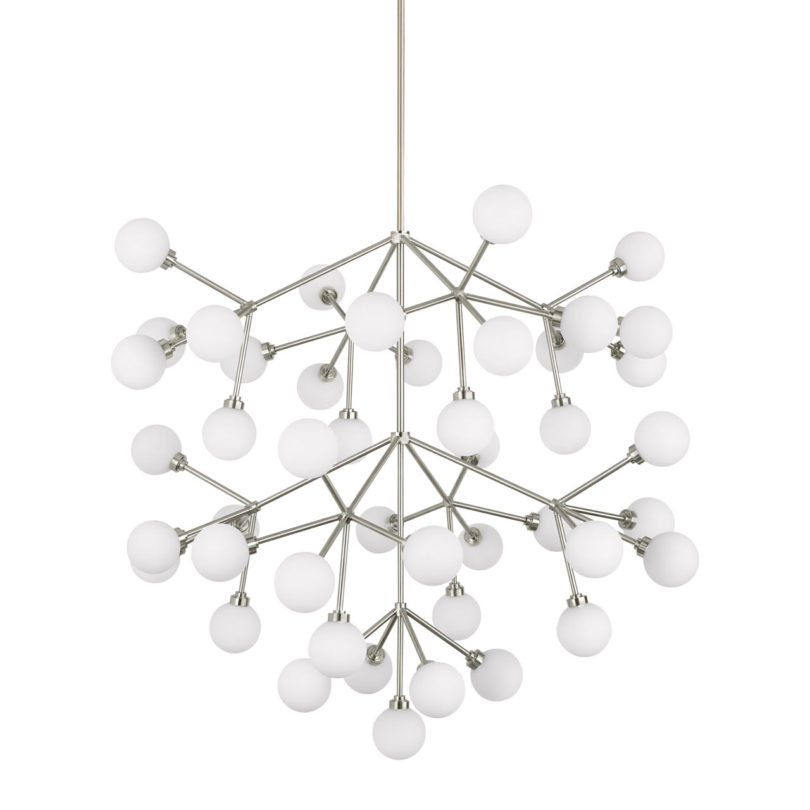 Trend This multi arm chandelier makes a bold statement with it frosted glass globes that hang from various bracketed branches almost like berries on a vine