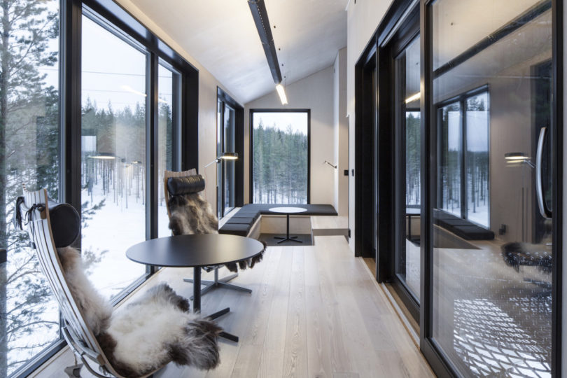 Designed and built like a traditional Nordic cabin, the interior of the  cabin is clad with blond ash wood flooring and blond birch plywood walls to  ...