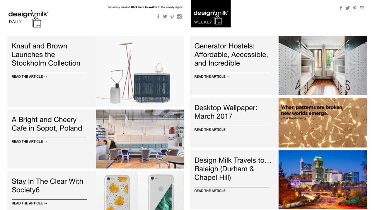 The Design Milk Newsletter Gets a Facelift